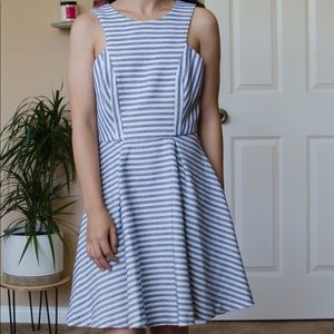 BCBG White & Blue Striped Dress